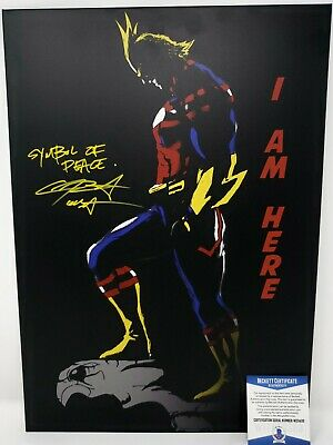 Chris Sabat signed 18x13 inch Displate Metal Print My Hero Academia All Might