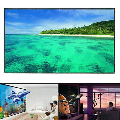 """100"""" 16:9 Wall-mounted Projector Screen For 4K HD Movies Pull Down Wall Mounted"""
