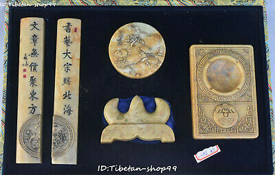 China ShouShan Stone Carving calligraphy writing Text Brush seal signet Set
