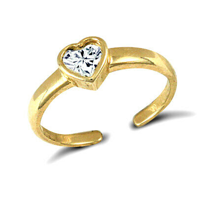 Jewelco London 9ct or Zircone Solitaire Amour Orteil Bague