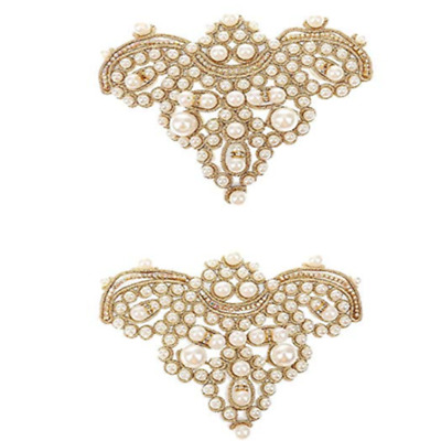 2pcs Pearl Flower Shoe Clip Rhinestones Iron on Pearl Patch Applique Accessory