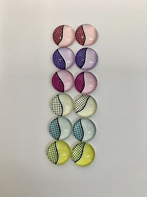 6 Pairs Of 10mm Glass Cabochons #495