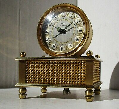 Wonderful Quality Gilded Brass Alarm Clock with Music Box from SOLO - 7 Jewels