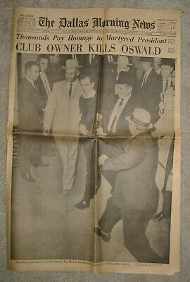 Original 1963 Lee Harvey Oswald John F. Kennedy Dallas Morning News Newspaper
