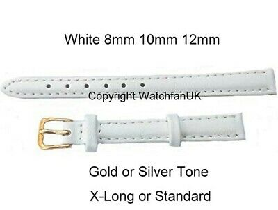 Ladies White Leather Watch Strap Standard or Extra Long Size in 8mm 10mm 12mm