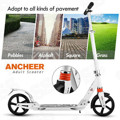 ANCHEER Folding Kick Scooter for Adult Teens T-Bar Adjustable Height Sport Gifts