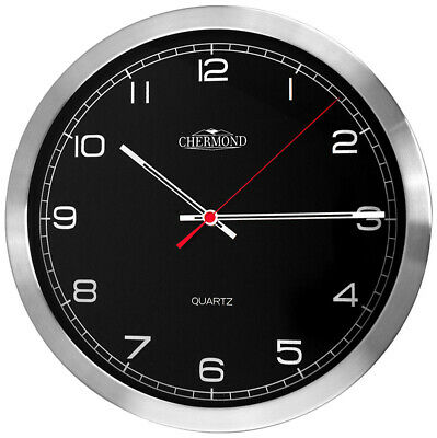 CHERMOND Standard Wall Clock Metal Case Black Dial  Arabic Numerals HQ