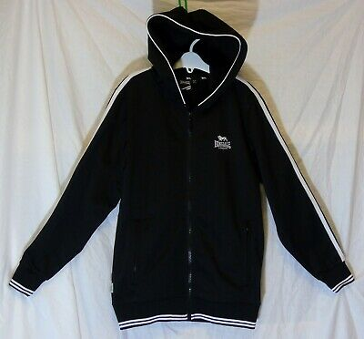Boys Lonsdale Black White Logo Hooded Hoodie Tracksuit Top Jacket Age 9-10 Years