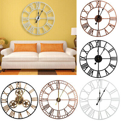 Large Skeleton Wall Clock Roman Numeral Open Face Round 40/60/80CM Home Clock