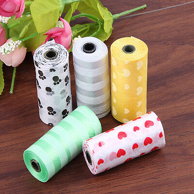 2Rolls/30X Pet Dog Waste Poop Bag Poo Printing Degradable Clean-up Dispenser uq