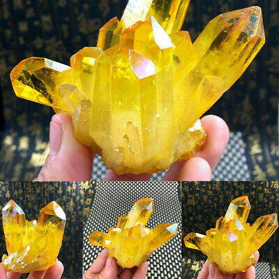Rare Natural Yellow Crystal Quartz Citrine Cluster Mineral Specimen Healing 1PC