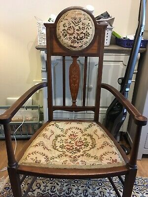 Lovely Inlaid Mahogany Edwardian Hall Chair With Embroidered Back And Seat