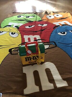M&M's vintage lunchbox and drink flask retro 1999 With M&M Blanket - unused