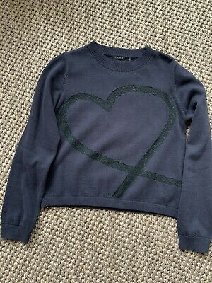 Girls IKKS Navy Jumper With Sparkly Heart Motif Age10Years