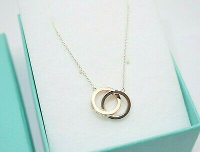 Tiffany & Co. Silver &  Rubedo Metal 1837 Interlocking Circles Necklace 16""