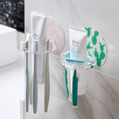 Toothbrush Toothpaste Dispenser Clear Holder Hook Space Saving Rack Suction Tube