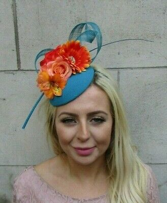 Orange Turquoise Teal Blue Flower Feather Hat Fascinator Hair Races Wedding 7806