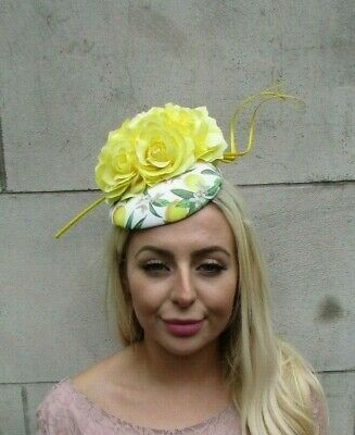 Lemon Yellow White Green Floral Feather Flower Hat Hair Fascinator Races 7807