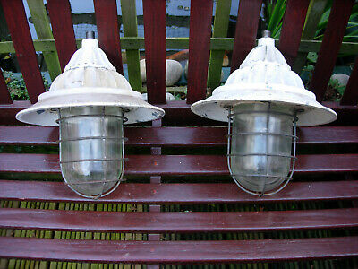 Pair of Vintage WALSALL Industrial Flameproof Explosion Proof FLP Lamps Lights