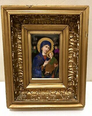 Antique Hand Painted Christian Religious Icon on Ceramic, Our Lady of Tenderness