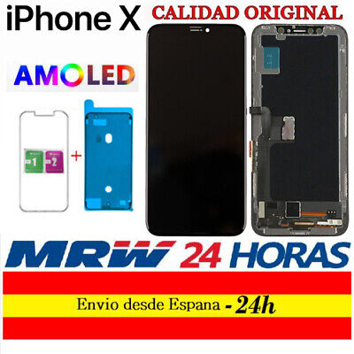 "Pantalla iPhone X AMOLED OLED 5,8"" A1865 A1901 A1902 + cristales protectores 24H"