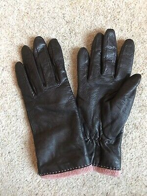 DENTS Leather Gloves Size 7 Womens , Dark Chocolate Brown Pink