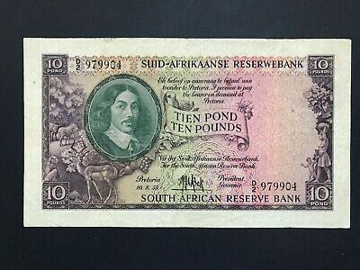South Africa 10 Pounds dated 1955 P99 Fine
