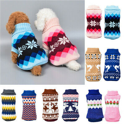 Small Medium Dog Jumper Knitted Chihuahua Pet Clothes Pullover Sweater Xmas Coat