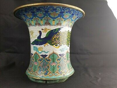 "Vintage Large Japanese Cloisonne Floor Vase Top 13""x11"""