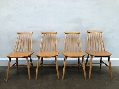 Vintage 60's Farstrup 4 x  Blonde Stick Back Danish Dining Chairs.Retro.DELIVERY