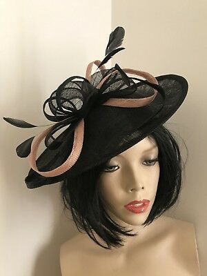 NEW Black Nude Fascinator Wedding Saucer Hat Formal Ladies Womens Hatinator Disc