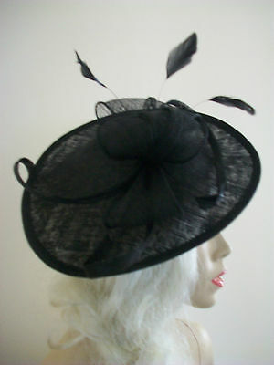 Black Fascinator Feather Wedding Saucer Hat Formal Ladies Womens Hatinator Disc