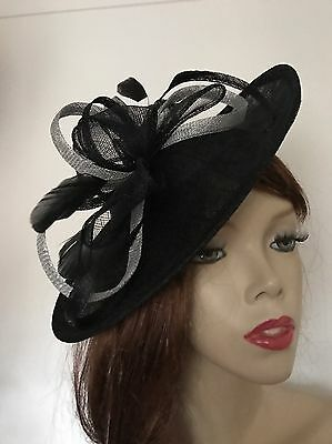Fascinator Black Silver Wedding Saucer Hat Formal Ladies Hatinator Disc Ascot