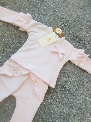 Mintini Baby Girl Spanish Designer Lounge Set Tracksuit Pink Frills Bows outfit