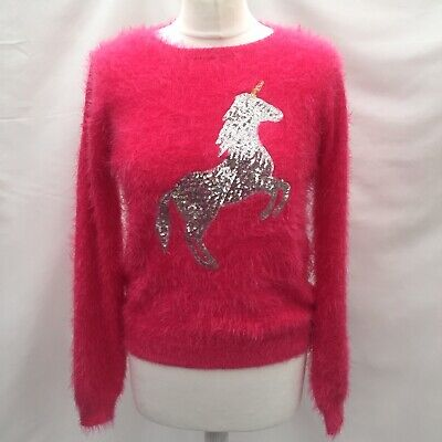 M And S Silver Sequin Unicorn Pink Fluffy Jumper Size 164cm 13-14 Years Bnwt