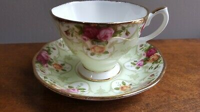 Royal Albert Rose Cameo Green Pattern Fine Bone China England Tea Cup & Saucer