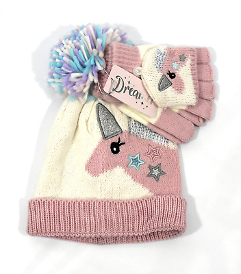 Dreamer Unicorn Girls Bobble Hat Gloves Mitten Set 4-7 years