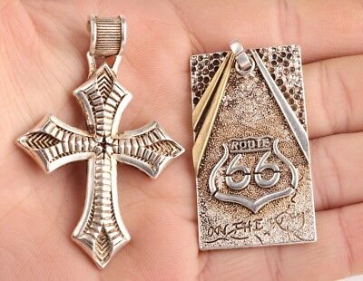 2 Retro China Tibet Silver Pendant Cross Fashionable Lady Mascot Decoration Old