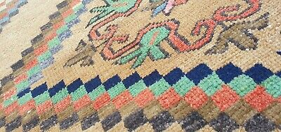 "Primitive Antique Cr1930-1939s Wool Pile Muted Dye Oushak Area Rug 4'2"" x 7'8"""