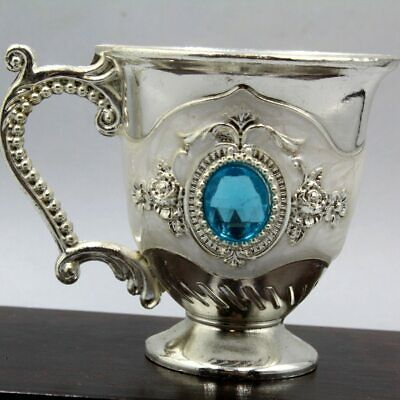 Collectable Antique China Miao Silver Mosaic Agate Delicate Noble Royal Wine Cup