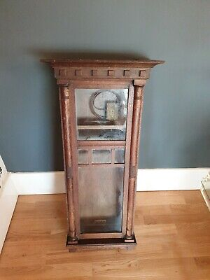 Antique English Oak Wall Clock Case With Brass Sopra Mechanism Parts Early 20Thc