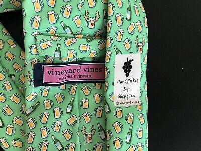 VINEYARD VINES RED NOSED REINBEER MINT SPRING TIE-NEW-SRP$85