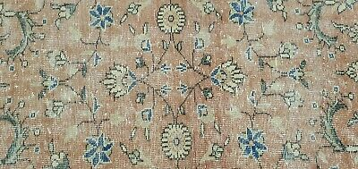 Lovely Antique 1930-1939s Wool Pile Muted  Dye Distressed Oushak Area Rug 4x7ft