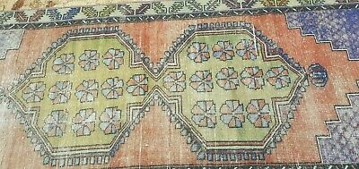 "Antique 1930-1939s Wool Pile Muted  Dye Distressed Oushak Area Rug 3'8"" x 8'2"""