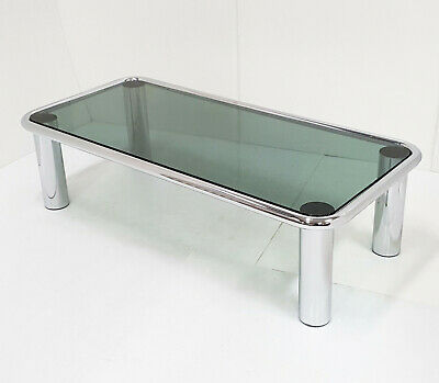 Coffee Table Vintage 1970 Steel Silver Chrome & Glass Smoke Grey 70S 70'S