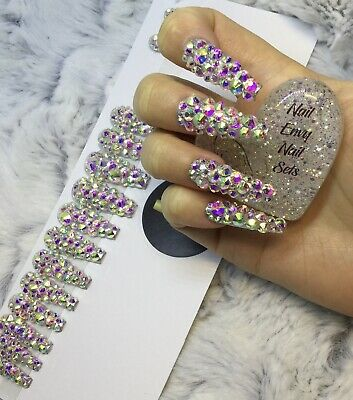Full Diamante Glam False Fake Extra Long Ballerina Nails Set