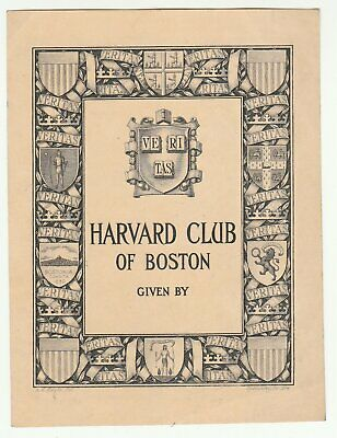 1914 unused Harvard Club of Boston bookplate (A.E. Hoyle, Frederick Spenceley)