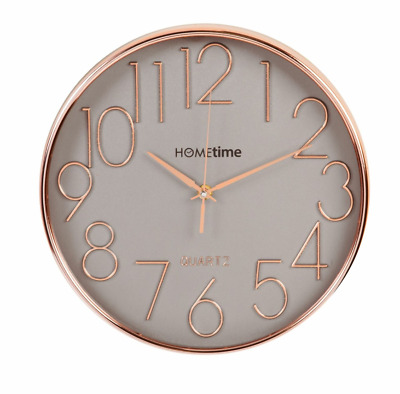 Hometime Round Plastic Wall Clock Gold Effect  Raised Numbers 30cm Wall Clock