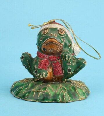China Cloisonne Hand-Carved Frog Statue Pendant Good Luck Gift Collec