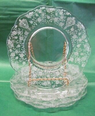 """Lot of 4 Vintage Cambridge Clear Rose Point 6 1/2"""" Bread & Butter~Dessert Plates"""
